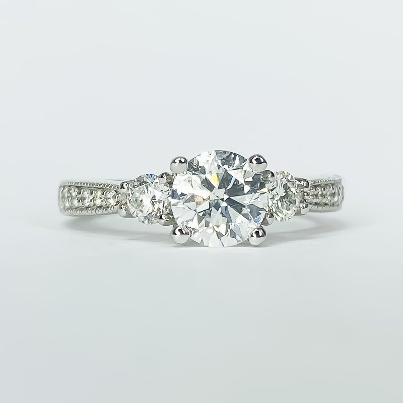 Iroff and Son Jewelers  14K White Gold 3 Stone Round 1.42CTW GIA Engagement Ring SZ 6.5
