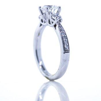 14K White Gold 3 Stone Round 1.42CTW GIA Engagement Ring SZ 6.5