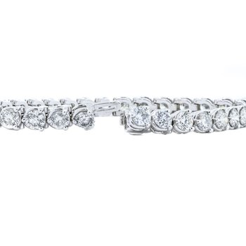 "14K White Gold 7"" Tennis Diamond 12.00CTW Bracelet"