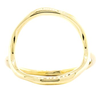 14K Gold Organic Open Circle Fashion Ring SZ 7