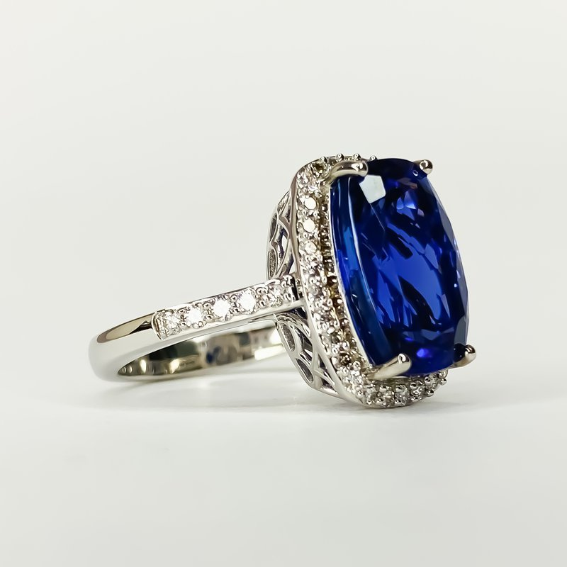 Iroff and Son Jewelers  18K White Gold Cushion Tanzanite Diamond Halo Statement Ring Size 7