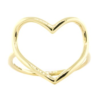 14K Gold Organic Open Heart Fashion Ring SZ 7