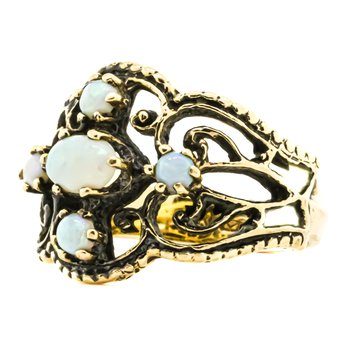 14K Gold Precious Opal Filigree Scroll Nouveau Ring