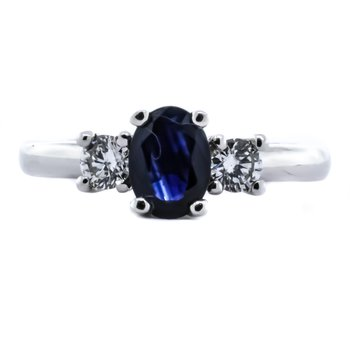 14K White Gold Three Stone Sapphire Center Diamond Sides Ring SZ6.25