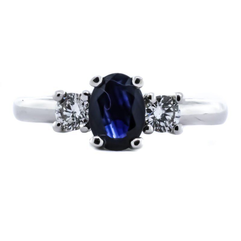 Iroff and Son Jewelers  14K White Gold Three Stone Sapphire Center Diamond Sides Ring SZ6.25
