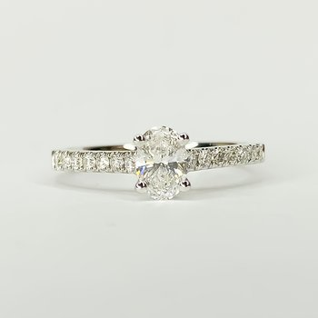 14K White Gold Solitaire Oval GIA Diamond Engagement Ring Size 6.5