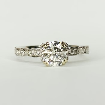 14K White Gold Round Solitaire IGI Diamond Engagement Ring Size 6