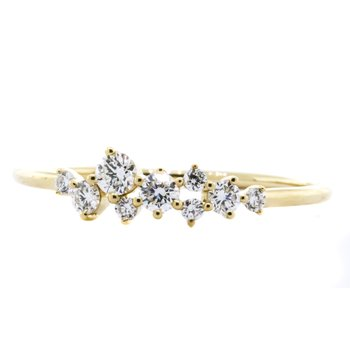 14K Gold Cluster Free Form Spring Diamond Band