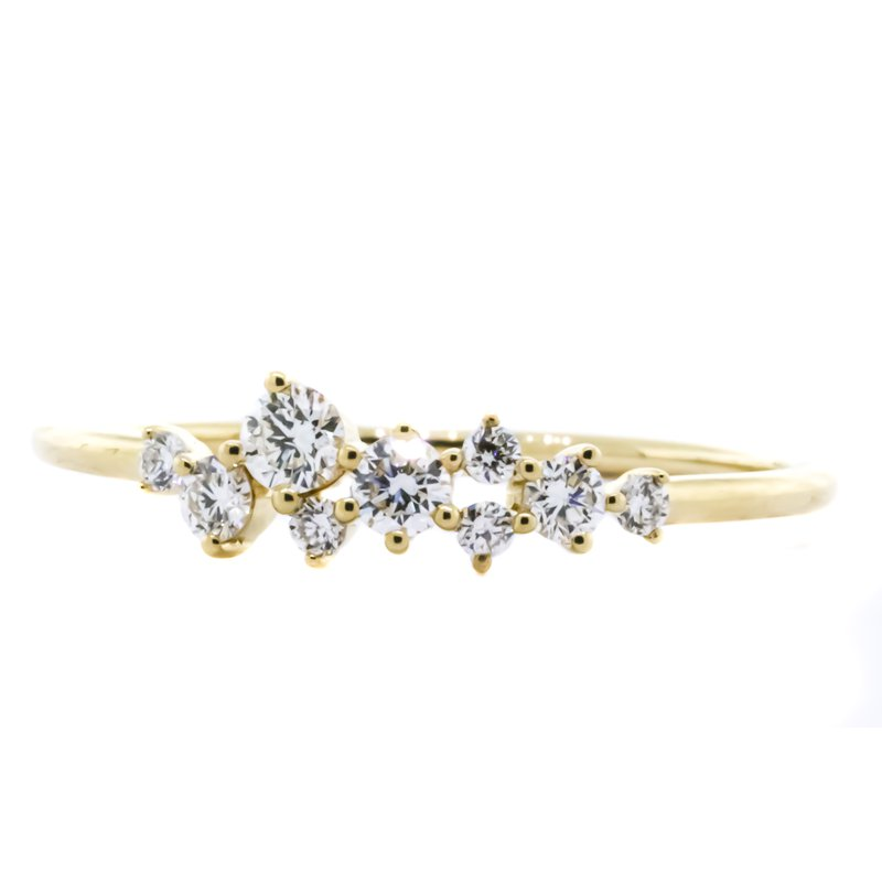 Iroff and Son Jewelers  14K Gold Cluster Free Form Spring Diamond Band