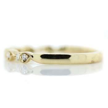 14K Yellow Gold Milgrain Tear Drop Diamond Wedding Band SZ 6.5
