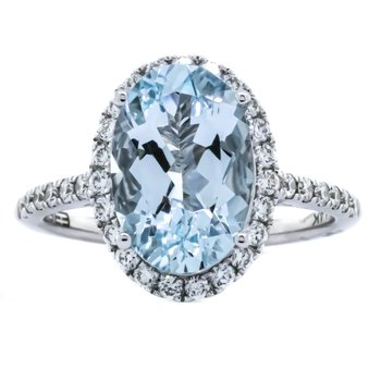 14K White Gold Aquamarine and Diamond Oval Halo EFFY Ring SZ 6.75