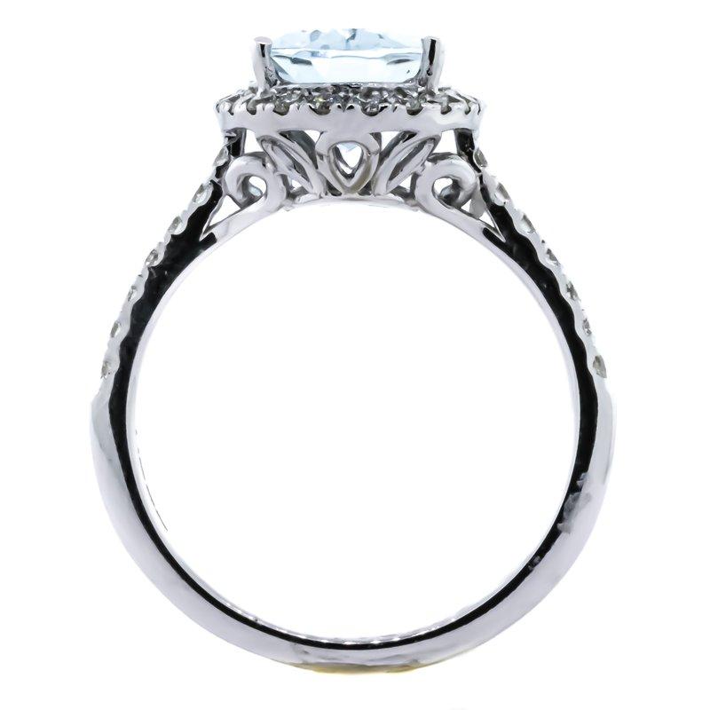 Iroff and Son Jewelers  14K White Gold Aquamarine and Diamond Oval Halo EFFY Ring SZ 6.75