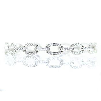 14K White Gold Pave Open Link Diamond Cuff Hinge