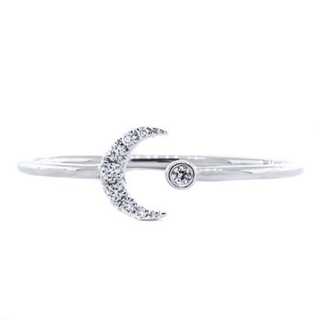 14K White Gold Open Crescent Moon Diamond Fashion Ring