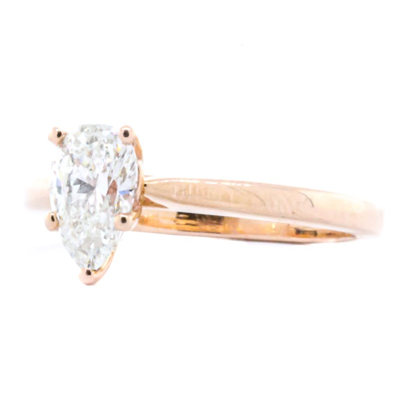 Iroff and Son Jewelers  14K Rose Gold Solitaire Pear Shaped Diamond Engagement Ring SZ 5.5