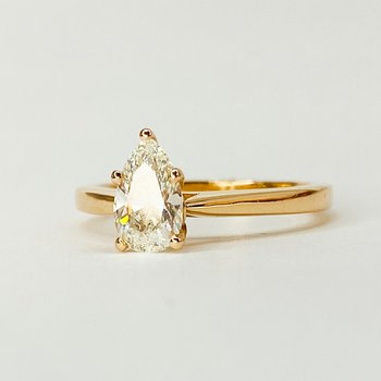14K Rose Gold Solitaire Pear Shaped Diamond Engagement Ring SZ 5.5