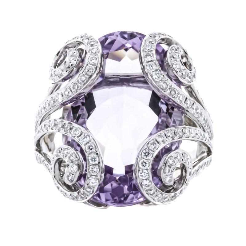 Estate Jewelry 18K White Gold Amethyst Oval Diamonds Scrolling Statement Ring