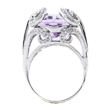 18K White Gold Amethyst Oval Diamonds Scrolling Statement Ring