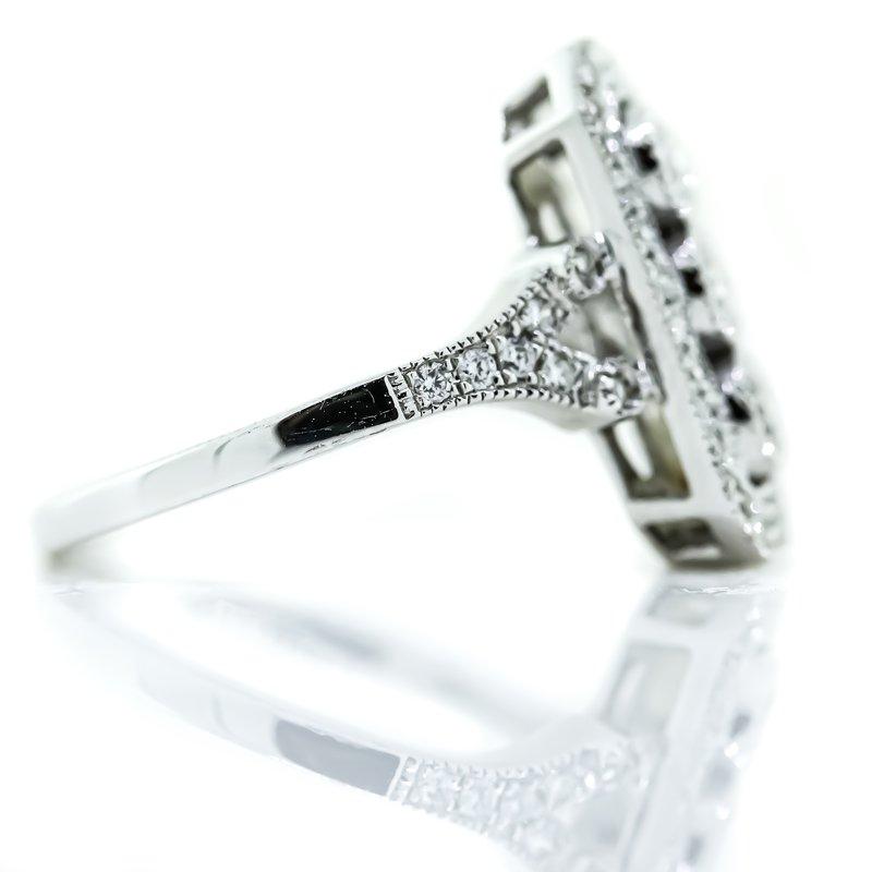 Iroff and Son Jewelers  18K White Gold Milgrain Emerald Shape Diamond Filled Antique Ring SZ 6.75