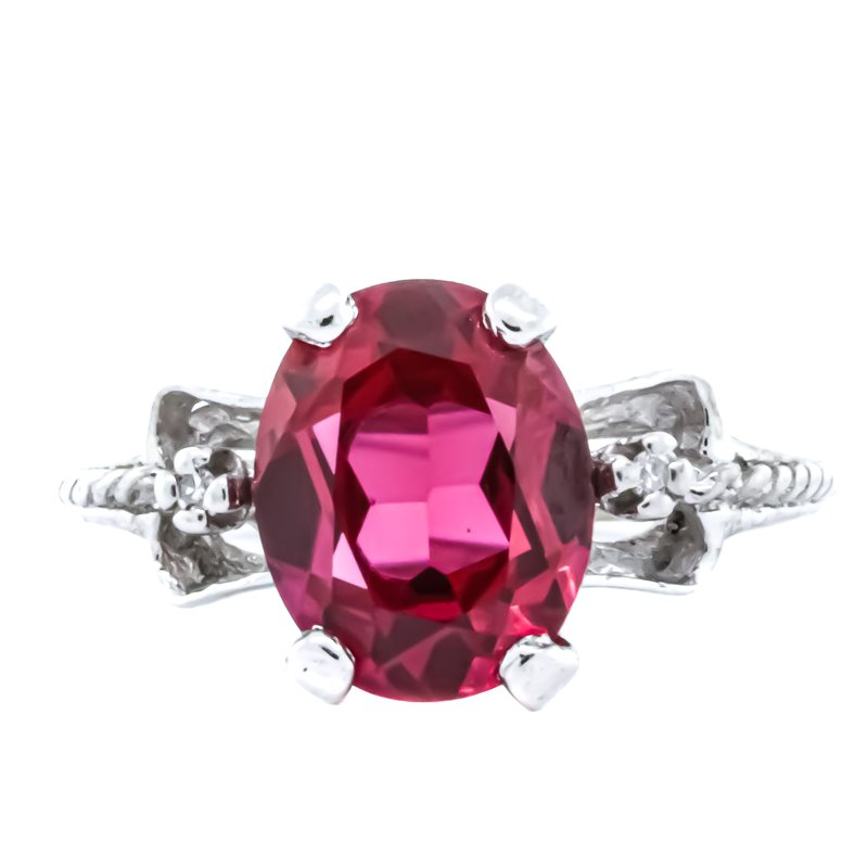 Estate Jewelry 10K White Gold Simulated Ruby and Diamond Bridge Ring