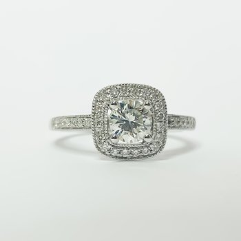 18K White Gold Square Cushion Diamond GIA Engagement Ring