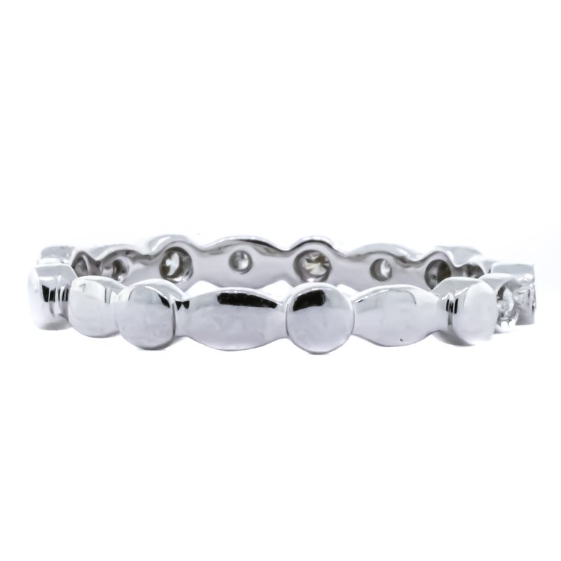 Iroff and Son Jewelers  18K White Gold Milgrain Illusion Marquise and Round Diamond Band