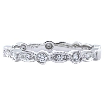 18K White Gold Milgrain Illusion Marquise and Round Diamond Band