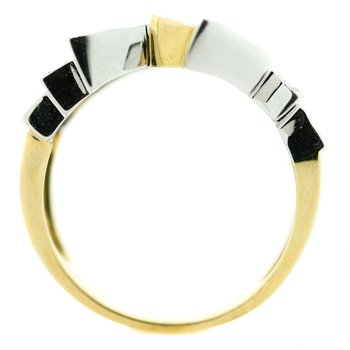 18K White and Yellow Gold Geometric Bar Diamond Ring SZ 7