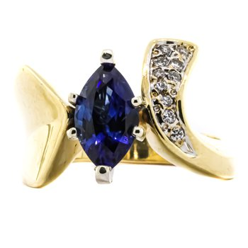 14K Gold Marquise Sapphire Center Diamond Bypass Ring