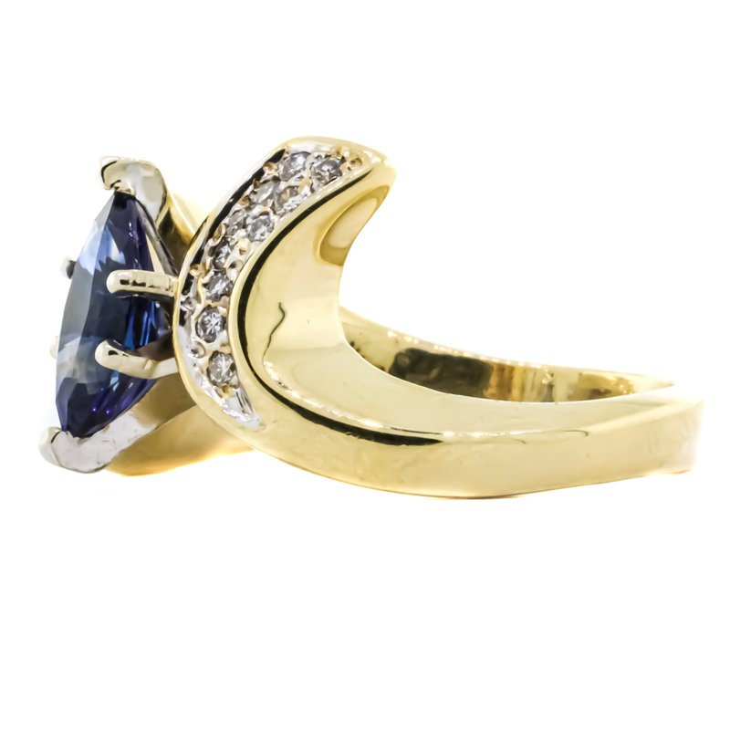 Estate Jewelry 14K Gold Marquise Sapphire Center Diamond Bypass Ring