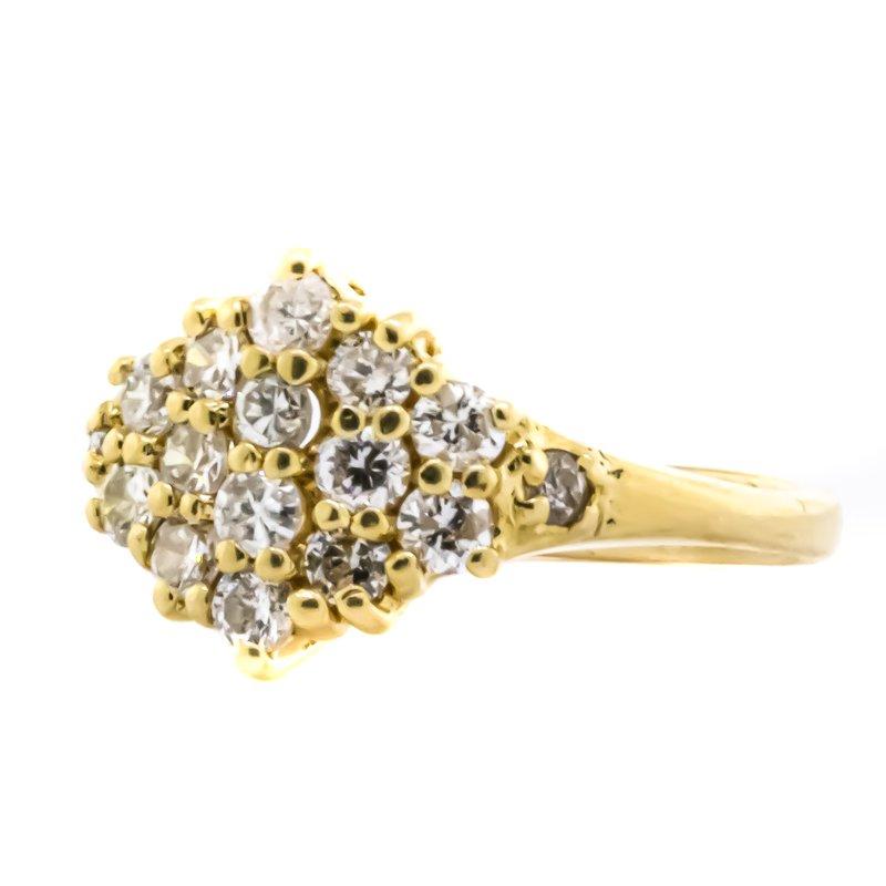 Estate Jewelry 14K Gold Diamond Star Cluster Pinky Midi Ring