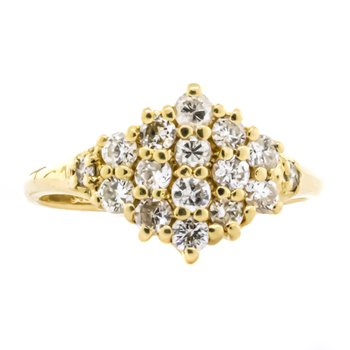 14K Gold Diamond Star Cluster Pinky Midi Ring