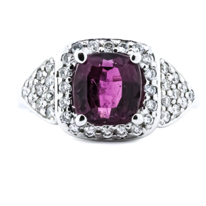 Iroff and Son Jewelers  18K White Gold Pink Tourmaline Center Diamond Cushion Halo Ring SZ 6.25