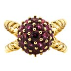 Estate Jewelry 14K Gold Ruby Cluster Rope Cable Split Dome Ring