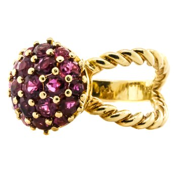 14K Gold Ruby Cluster Rope Cable Split Dome Ring