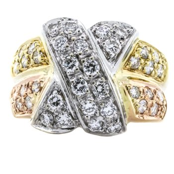18K Tri-Tone Gold Crossover Diamond Dome Two Row Ring
