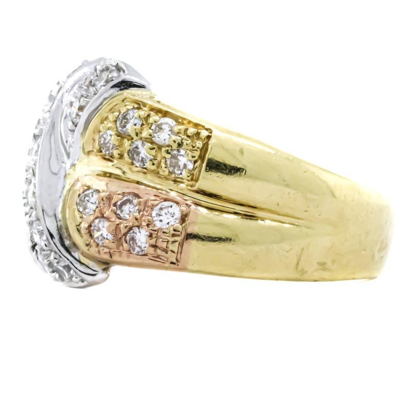 Estate Jewelry 18K Tri-Tone Gold Crossover Diamond Dome Two Row Ring