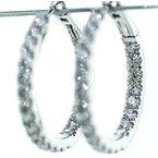 Iroff and Son Jewelers  14K White Gold Inside Outside 3.12CTW Diamond Hoop Earrings