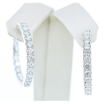 14K White Gold Inside Outside 3.12CTW Diamond Hoop Earrings