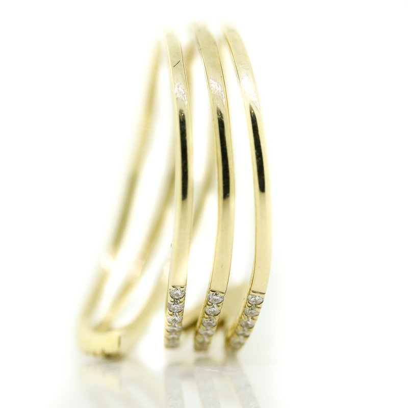 Iroff and Son Jewelers  10K Yellow Gold Open Three Row Bypass Diamond Fashion Ring SZ 7