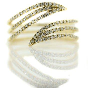 10K Yellow Gold Open Three Row Bypass Diamond Fashion Ring SZ 7