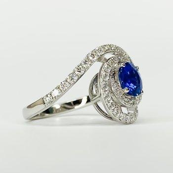 18K White gold Spiral Diamond Halo Sapphire Center Ring Size 6.5