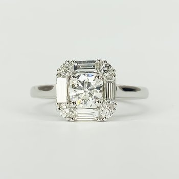 14K White Gold Square Baguette Round Halo Diamond Engagement Ring Size 6