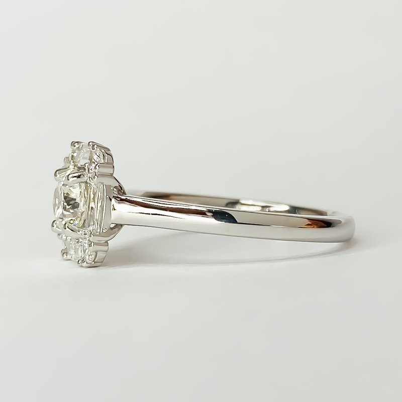 Iroff and Son Jewelers  14K White Gold Square Baguette Round Halo Diamond Engagement Ring Size 6