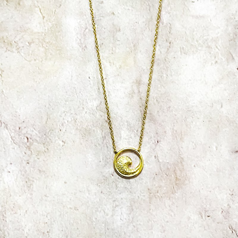 "Estate Jewelry 14K Gold Diamond Circle Wave Necklace 18"""