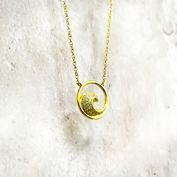 "14K Gold Diamond Circle Wave Necklace 18"""