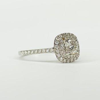 18K White Gold Double Cushion Halo Diamond Engagement Ring Size 6.5