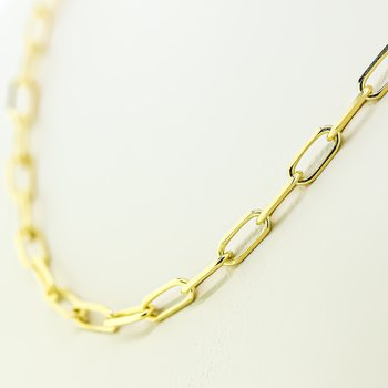 14K Yellow Gold 3.1mm Diameter Paper Clip Link Chain 18""