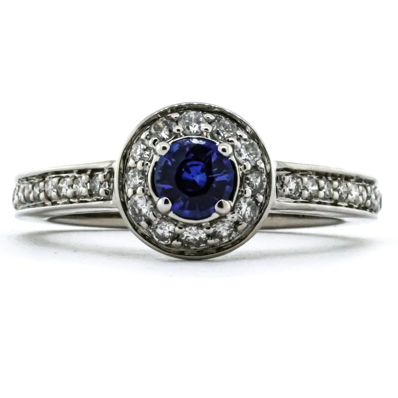 Iroff and Son Jewelers  14K White Gold Sapphire Center Diamond Halo Milgrain Band Ring SZ 7