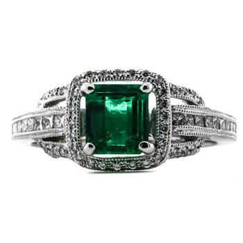 14K White Gold GIA Diamond and Emerald Cushion Halo Ring SZ 6